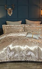 duvetové potahové soupravy luxusní hedvábí / bavlna směs reaktivní tisk 4 kusy postelí sety queen