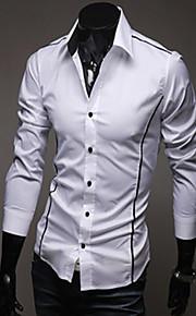 Hombre Tallas Grandes Algodón Camisa Un Color Blanco XL / Manga Larga