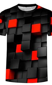 Ανδρικά Μεγάλα Μεγέθη T-shirt Βασικό / Εξωγκωμένος - Βαμβάκι 3D Στρογγυλή Λαιμόκοψη Στάμπα Μαύρο XXL / Κοντομάνικο