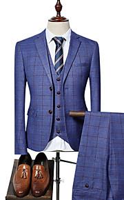 Hombre Fiesta / Trabajo Negocios Primavera & Otoño Regular trajes, A Cuadros Cuello de Peter Pan Manga Larga Azul Piscina / Negro / Azul Real XL / XXL / XXXL / Negocios formales / Delgado