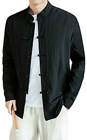 男性用 プラスサイズ シャツ アジアン・エスニック スタンドカラー スリム ソリッド コットン / 長袖