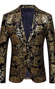 Homme Soirée / Quotidien Sophistiqué / Exagéré Printemps / Automne Normal Blazer, Fleur Col en V Manches Longues Coton / Polyester Imprimé Or / Argent XL / XXL / XXXL / Mince