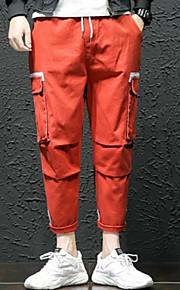 男性用 ストリートファッション プラスサイズ チノパン / カーゴパンツ パンツ - ソリッド ブラック