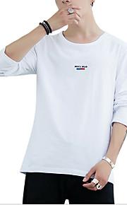Hombre Activo / Básico Algodón Camiseta, Escote Redondo Letra Negro XXL / Manga Larga