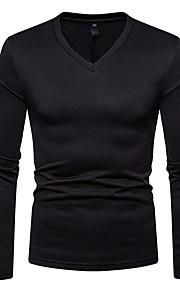 Ανδρικά T-shirt Βασικό Μονόχρωμο Λαιμόκοψη V Κρασί L / Μακρυμάνικο