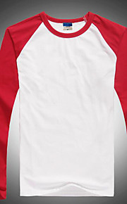 Муж. Футболка Круглый вырез Тонкие Контрастных цветов Красный XL / Длинный рукав