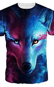 男性用 プリント Tシャツ ベーシック / 誇張された 3D / 動物 / カートゥン オオカミ