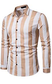 Hombre Estampado Camisa, Cuello Inglés A Rayas Azul Piscina L / Manga Larga / Primavera / Otoño