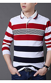 Муж. С принтом Большие размеры - Футболка Рубашечный воротник Геометрический принт / Контрастных цветов Красный XXXL / Длинный рукав