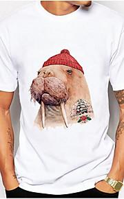 男性用 Tシャツ ラウンドネック 動物 / 半袖