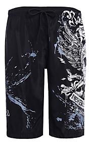 男性用 スリム ショーツ パンツ - ソリッド / 幾何学模様 ブラック