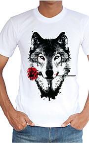 男性用 Tシャツ ラウンドネック スリム 動物 / 半袖