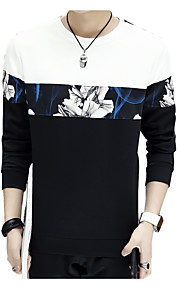 男性用 スリム 長袖 スウェットシャツ - 幾何学模様 ラウンドネック