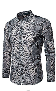 Hombre Camisa Geométrico Gris L / Manga Larga