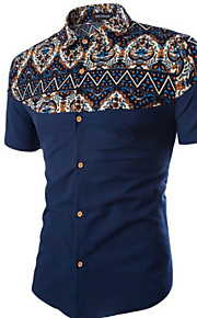 男性用 プラスサイズ シャツ 幾何学模様 / 半袖