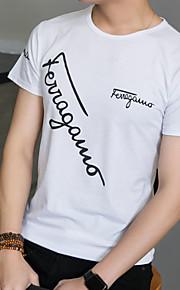 男性用 Tシャツ ラウンドネック スリム レタード
