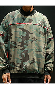 Hombre Casual Sudadera Un Color / camuflaje