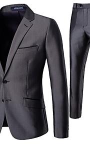 男性用 スーツ, ソリッド ノッチドラペル ポリエステル グレー XL / XXL / XXXL