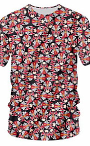男性用 パッチワーク / プリント Tシャツ 幾何学模様