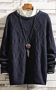 Муж. Однотонный Пуловер Осень Темно синий XXXL / XXXXL / XXXXXL