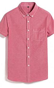 男性用 プラスサイズ シャツ ソリッド