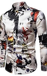 男性用 プリント シャツ ストリートファッション カラーブロック