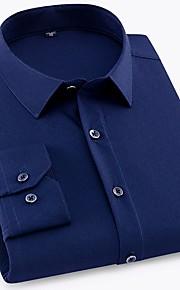 メンズプラスサイズシャツ - ソリッドカラーのシャツの襟