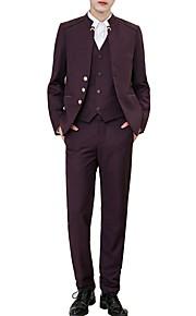 男性用 スーツ, ソリッド ノッチドラペル アクリル / ポリエステル ブラック / ネイビーブルー / ワイン XXL / XXXL / XXXXL