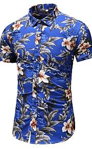 Heren Overhemd Bloemen Grijs XXXXL