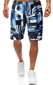 男性用 ブルー スイミングトランクス ボトムス スイムウェア - カラーブロック L XL XXL ブルー