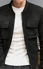 男性用 日常 ベーシック 秋 レギュラー ジャケット, ソリッド シャツカラー 長袖 ポリエステル グリーン / ブラック XL / XXL / XXXL