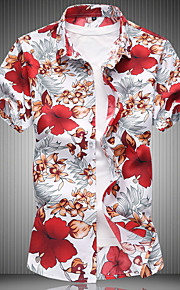 メンズプラスサイズのスリムシャツ - グラフィッククラシックカラー