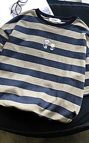 男性用 パッチワーク Tシャツ ストライプ