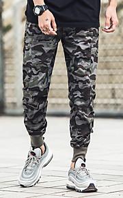 男性用 ストリートファッション チノパン パンツ - カモフラージュ アーミーグリーン