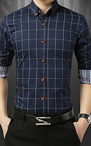 男性用 プラスサイズ シャツ スリム 千鳥格子