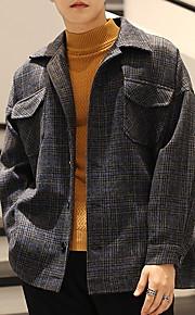 男性用 日常 秋 レギュラー ジャケット, ストライプ 折襟 長袖 コットン ダックグレー / カーキ色 L / XL / XXL