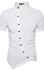 Camisa delgada de hombre - cuello clásico de color sólido