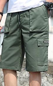 Hombre Activo Chinos Pantalones - Un Color Verde Trébol