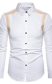 Skjorte Herre - Blomstret, Trykt mønster Hvit XL