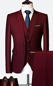 Hombre trajes, Un Color Solapa de Pico Poliéster Wine / Azul claro / Azul Real XXXXL / XXXXXL / XXXXXXL