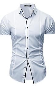 Heren Overhemd Effen Wit L
