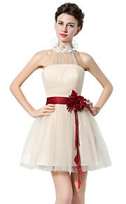 848e2690d8d Γραμμή Α Δένει στο Λαιμό Κοντό / Μίνι Τούλι Φόρεμα με Ζώνη / Κορδέλα με  JUDY&JULIA