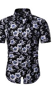 Муж. С принтом Рубашка Цветочный принт Черный XL