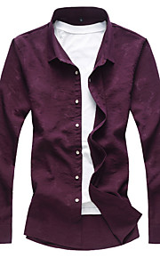 Heren Overhemd Effen Zwart XXXXL