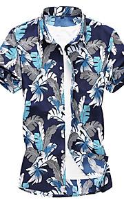 Hombre Camisa Geométrico Azul Piscina XXXXL