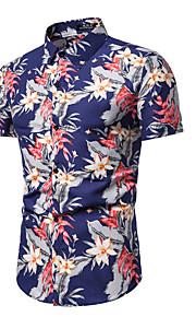 Pánské - Květinový Košile, Tisk Vodní modrá XL