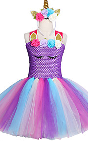 Děti / Toddler Dívčí Sladký / Cute Style Jednobarevné Síťka Bez rukávů Délka ke kolenům Spandex Šaty