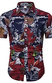 Heren Print Overhemd Bloemen / Geometrisch / Kleurenblok Regenboog XXXL