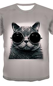 Hombre Estampado Camiseta Bloques / 3D / Animal Gris Claro XXXXL