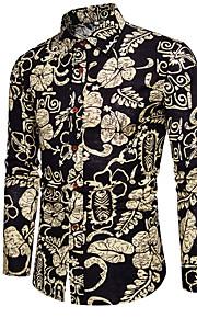 Heren Overhemd Geometrisch Zwart XXL